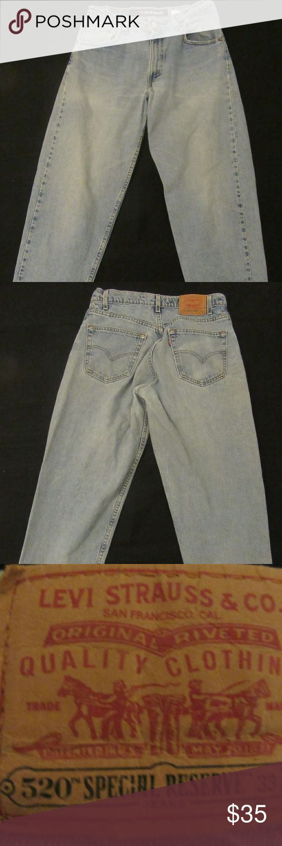 VTG Levis 520 Special Reserve Denim Jeans 32x30 great shape: tag says 33 W but measures 32 W  VTG Levis 520 Special Reserve Denim Jeans Light Wash Loose Fit Tapered Leg  ? Levi's Jeans Slim Straight