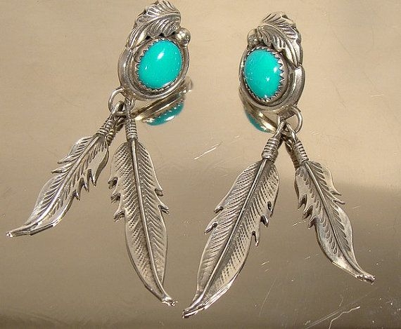 STERLING Silver Turquoise NAVAJO Feathers by FionaKennyAntiques