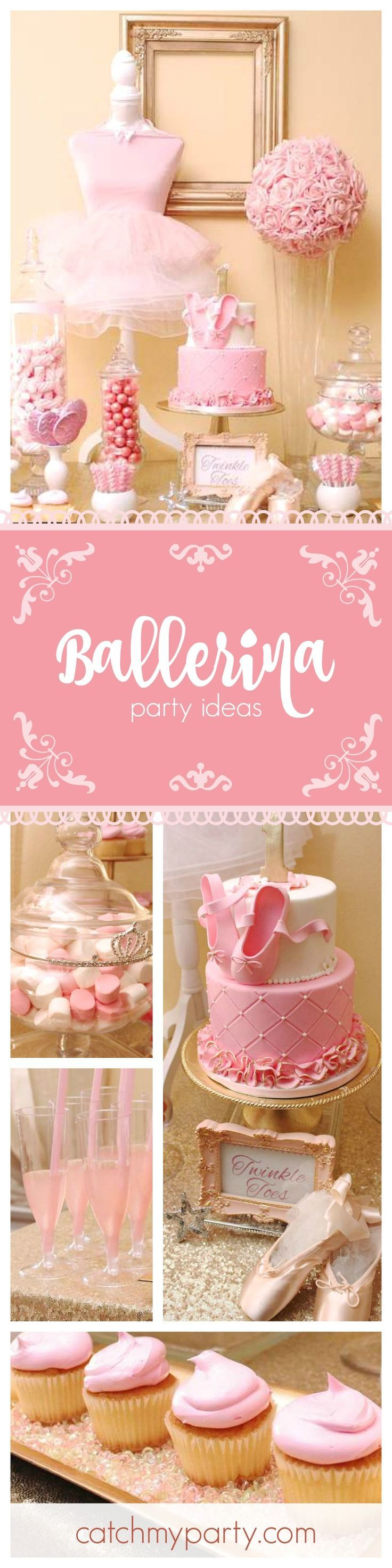 Check out this fabulous Ballerina 1st birthday party! The pink birthday cake with ballet shoes on top is just so gorgeous! See more party ideas at http://CatchMyParty.com