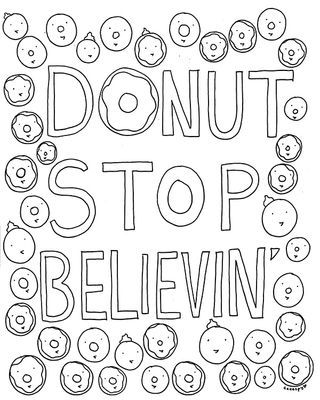 Free Coloring Book Page for Grown-Ups: Donut Stop Believin' (CakeSpy)