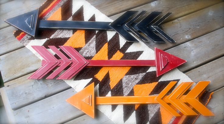 One of a kind wood arrows made from re-claimed wood, painted & distressed. Made by Nanci Negaard / Scruffy Dog Designs