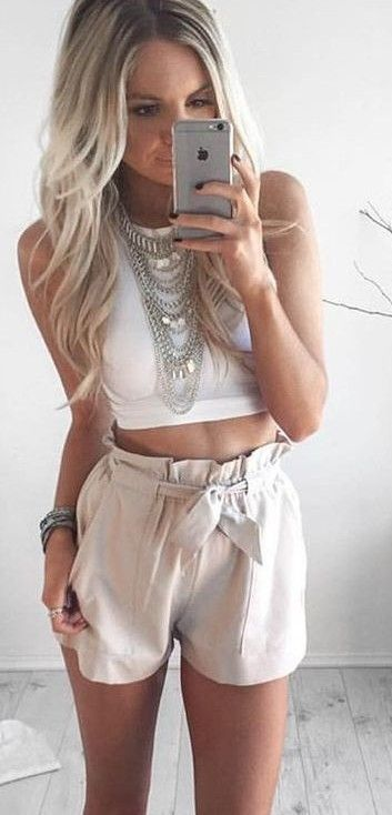 #whitefoxboutique #spring #Summer #outfitideas | White Crop + Beige Shorts                                                                             Source