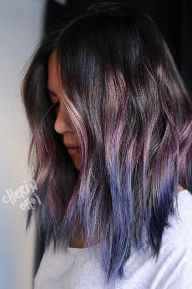 Looking to add color to your hair, but don't want to bleach it? With minimal stripping, this amethyst-to-navy ombré is gentle on hair and in terms of color, truly lives up to its gem namesake.