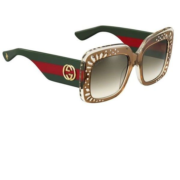 Gucci Oversized Square Frame Sunglasses (£345) ❤ liked on Polyvore featuring accessories, eyewear, sunglasses, over sized sunglasses, gucci eyewear, oversized sunglasses, oversized glasses and oversized eyewear