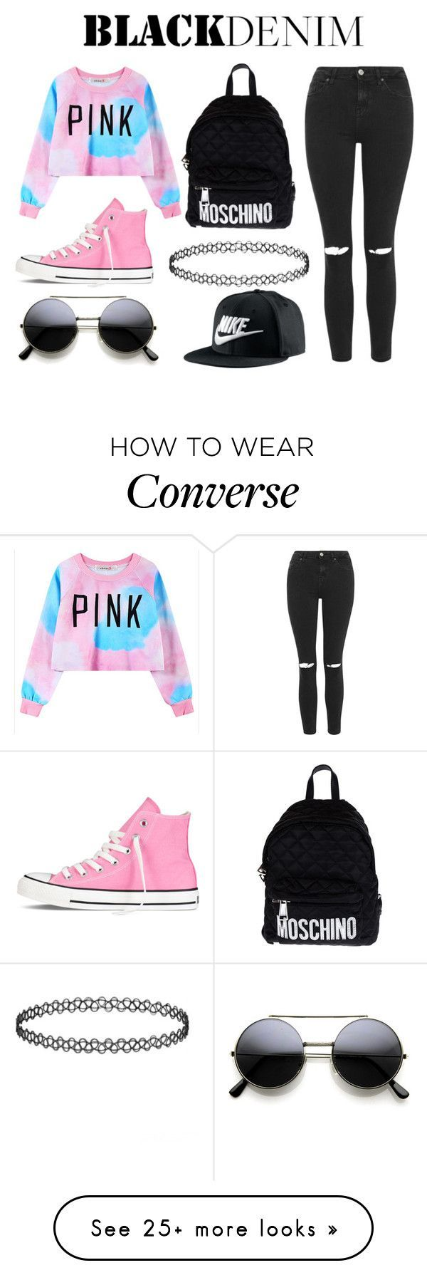 """black denim"" by pinksniper on Polyvore featuring Topshop, Chicnova Fashion, Converse, Moschino, NIKE, women's clothing, women's fashion, women, female and woman"