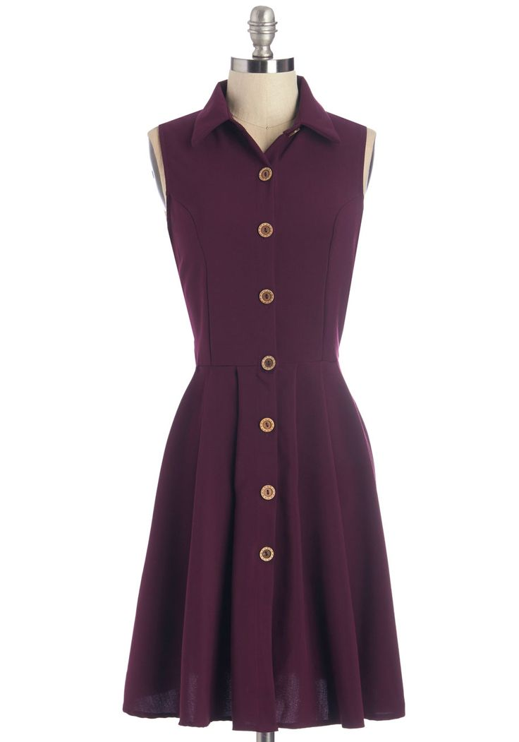 Swing Vote Dress in Acai. When your date suggests swing dancing, you give a vote of stylish support by slipping into this chic shirt dress by Fleet Collection! #purple #modcloth