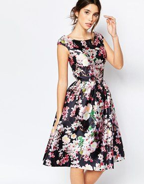 Chi Chi London Allover Floral Midi Dress With Keyhole Back Detail