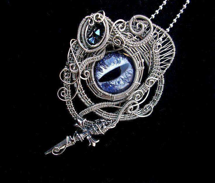 Dagger Swirls Dragon Eye - Brooch Pendant by LadyPirotessa.deviantart.com on @deviantART