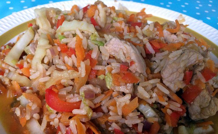 Sunn wok med svinekjøtt og ingefær