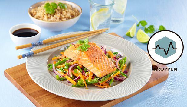 Denne oppskriften med ørret og wokgrønnsaker har et hint av asiatiske smaker. Retten er et fargekart på tallerkenen, og er like god som den er sunn.