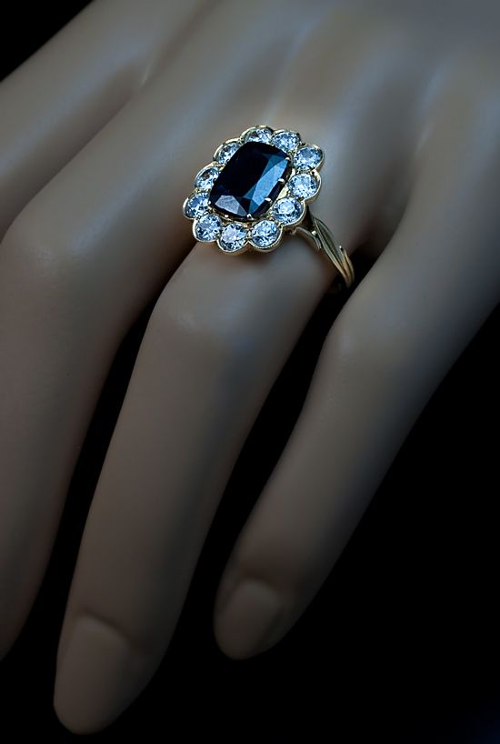 Fancy Antique Engagement Ring Sapphire and Diamond Russian Vintage Ring for Sale
