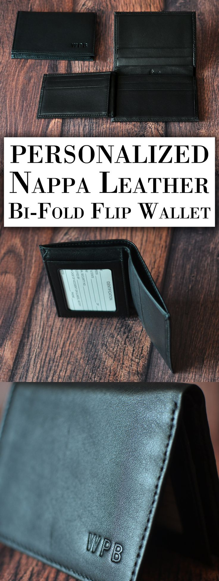 A unique alternative to the traditional trifold wallet, this Nappa leather men's wallet flips open on two sides, one over the top and the other to the left. Personalized with 3 initials or a first name, this convenient and compact wallet, hand-crafted in the USA, is a gift your best man and groomsmen will want to use every day, including on your wedding day. This wallet can be ordered at http://myweddingreceptionideas.com/personalized-rustic-wood-craft-beer-bottle-carrier.asp