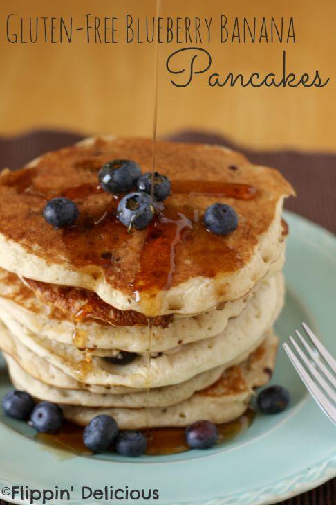 Sweet banana pancakes bursting with fresh blueberries. Best #glutenfree breakfast around!