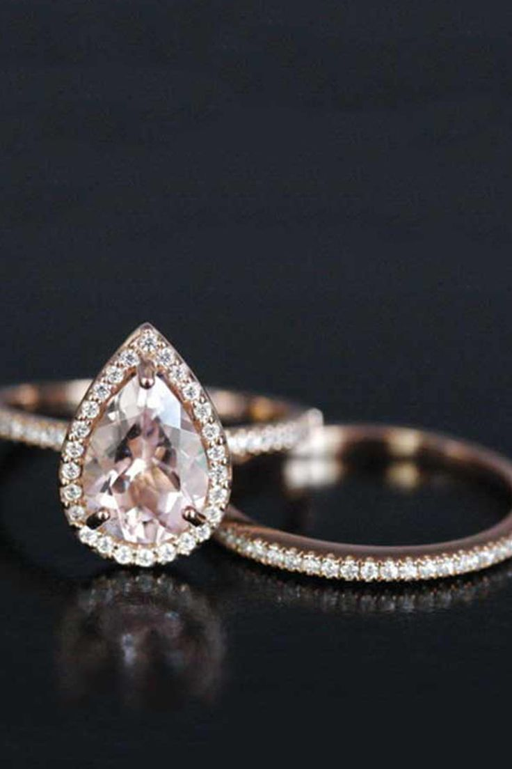 7+Non-Traditional+Engagement+Ring+Stones+That+Are+Trending+Big+Time+via+@PureWow rose gold pear shaped diamond