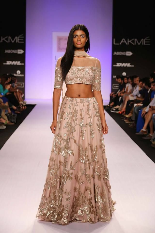 Shehlaa By Shehlla Khan Lakme Fashion Week Gold Embellished Applique Patch Work Designs All Over Lehenga Paired With Designer Quarter Sleeves