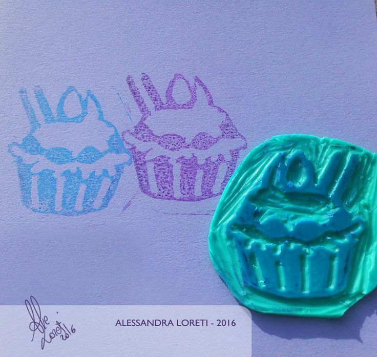 Stamp created with Adigraf. #stamp #adigraf #print #cupcake #cute #colors #colours #sheet #blue #violet #ink