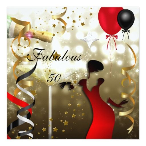 Glamorous Lady Fabulous 50 Fifty Birthday Party Personalized Invites