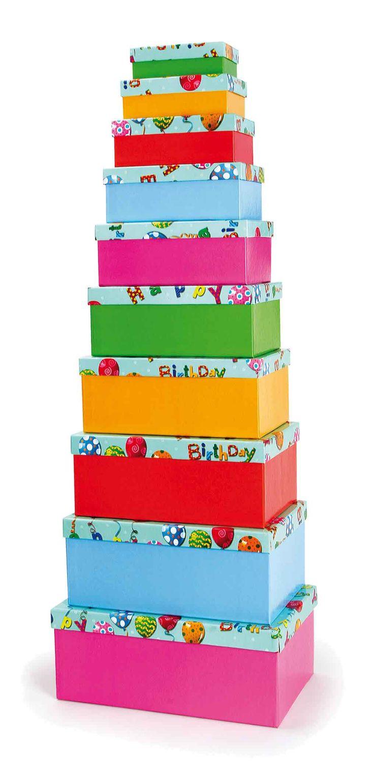 Set van 10. Dit bonte partybox set siert iedere verjaardagstafel en is veelvoudig inzetbaar: Op maten gesorteerd biedt het ruimte voor ieder cadeau en later voor prullaria. Bovendien is het vormstabiel van hooglanzende karton vervaardigd.