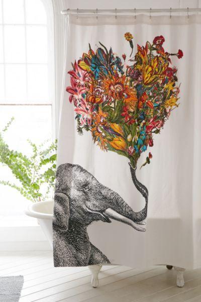 RococcoLA - Rideau de douche gai avec éléphant
