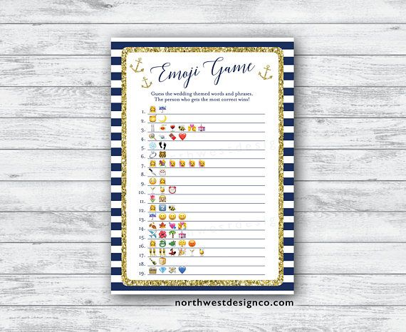 14 best nautical bridal shower images on pinterest nautical bridal digital nautical emoji pictionary game navy gold anchor bridal filmwisefo Images