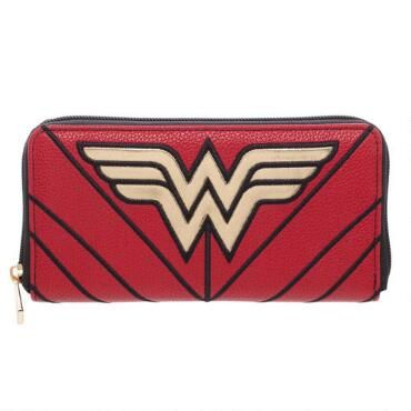 Who better to protect your money than Wonder Woman? This colorful zippered wallet takes inspiration from the world's greatest superheroine to carry your cash and cards. The attractive exterior is patterned after the Amazon princess's classic costume, with a complementary deep blue interior. It's the next best thing to having a superhero carry your money!