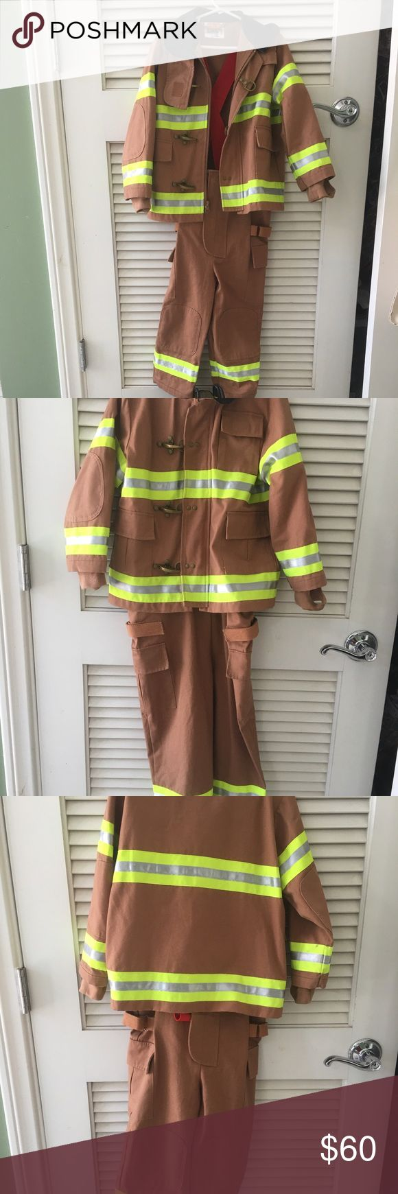 Boy's 3T-4T high quality fireman costume Halloween Selling the night reflector atriped jacjet with deep pockets, zip, hook toggle closures, pants are zip with suspenders. Lots of pockets, roomy and comfy.  Boots are rubber, size 10. Firehat has a police sticker you can peel off to show fireman sticker underneath. Has son's name on label inside jacket. You can cut that out. Costumes Halloween