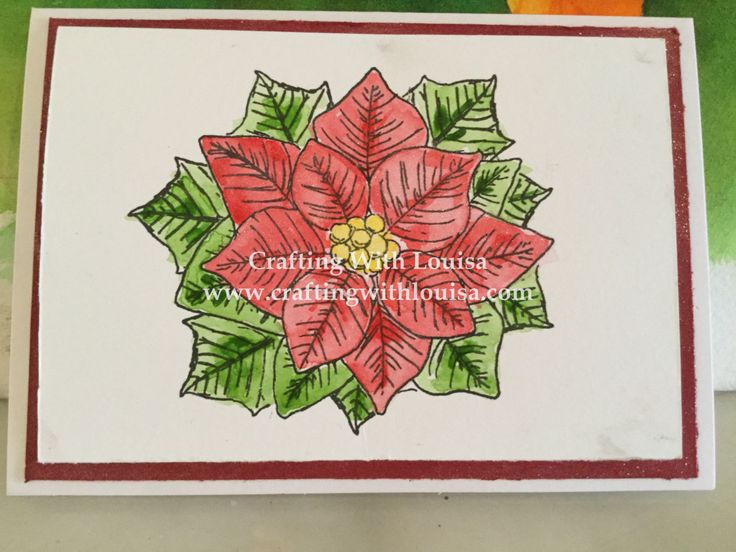 Welcome At Crafting With Louisa it is definately Christmas projoct time, mainly card making time. Today the features a new to me stamp from The Love of Stamps Pretty Poinsettia. The cardbase for th…