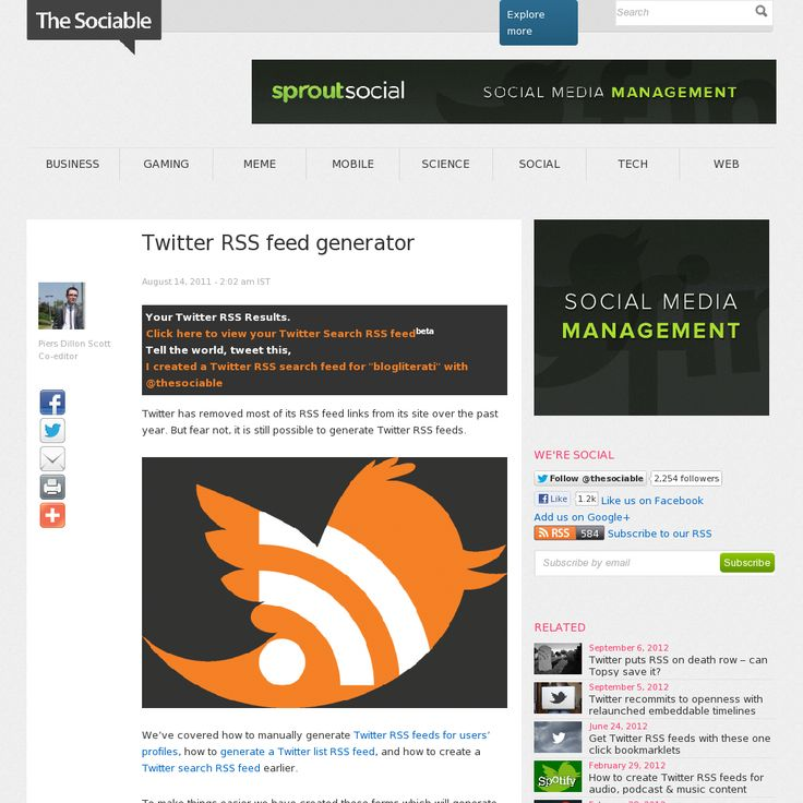 Use this Twitter RSS generator to create RSS feeds for