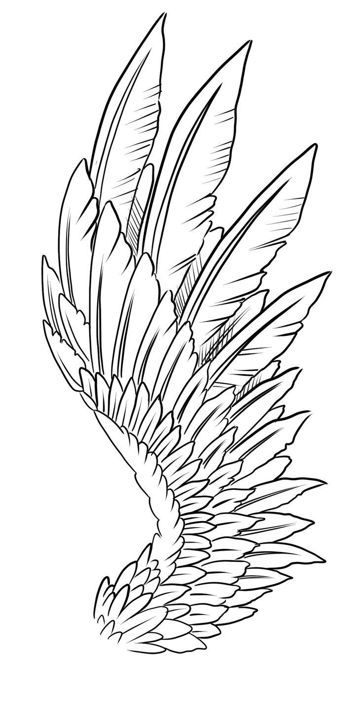 Wing Tattoo Design Linien von Nikolay Sparkov