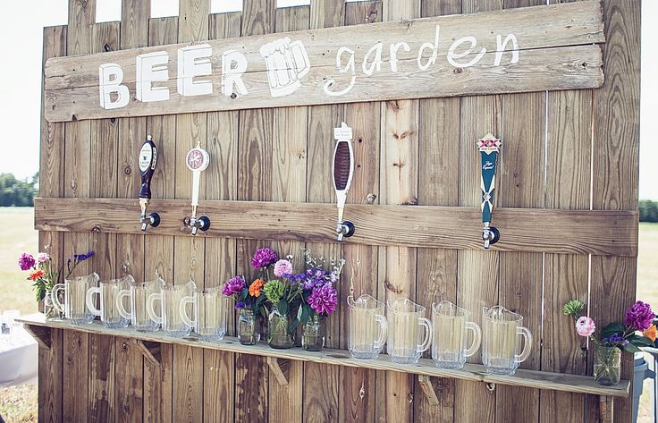 The beer-loving couple can incorporate a Beer Garden into their reception — so cute! | RHM Photography