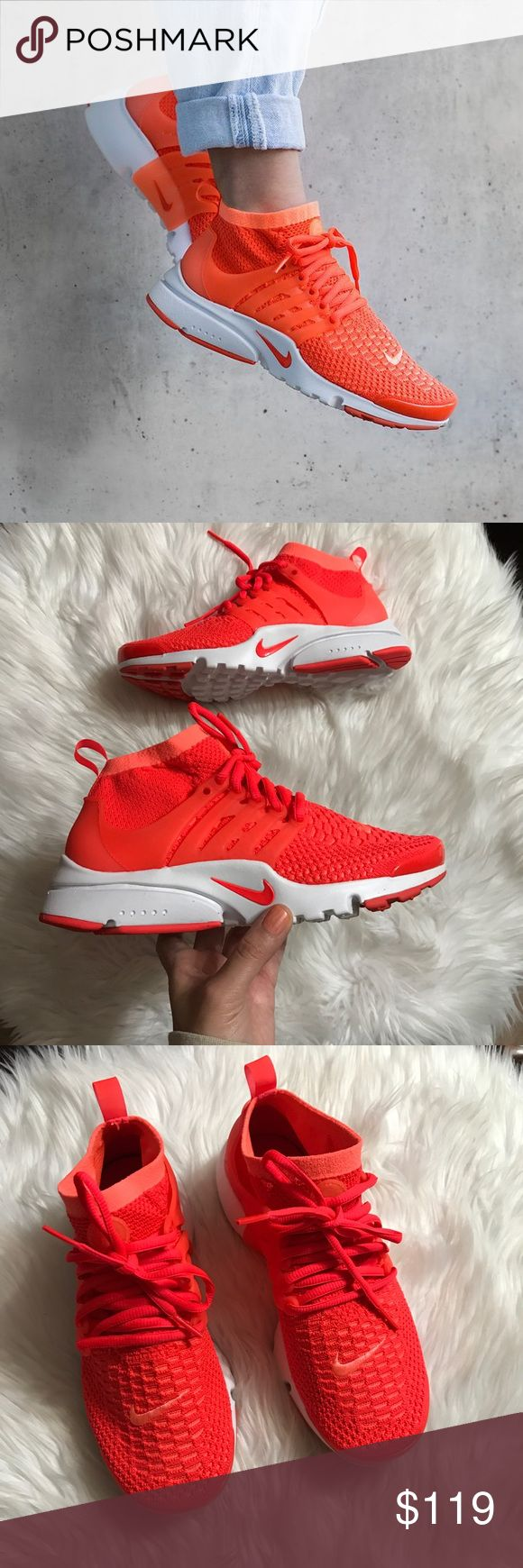 OFFER ME ☃️ Women's Nike Air Presto Flyknit Brand new with the box but no lid. Bright Mango/ Bright Crimson Nike Shoes Athletic Shoes