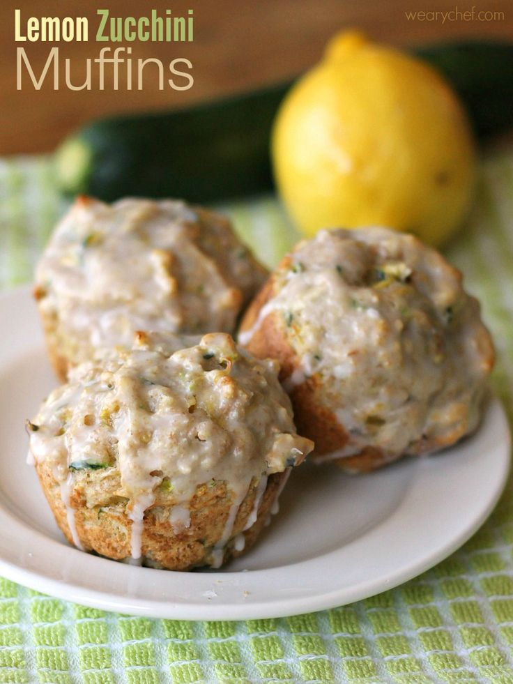 These incredibly moist lemon zucchini muffins are coated with an easy lemon glaze to satisfy your morning sweet tooth the healthy way!