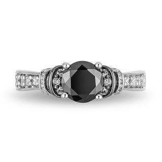 Enchanted Disney Villains Evil Queen 1-1/2 CT. T.w. Enhanced Black Diamond Engagement Ring in 14K White Gold