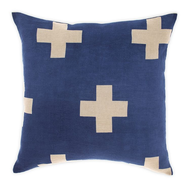 Aura - Aura Crosses Linen Cushion - Marine - Kerridge Linens & More