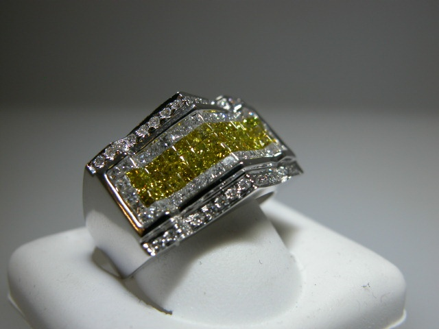 Mens Pinky Ring 14k White Gold Set w White & Canary Diamonds Gentleman
