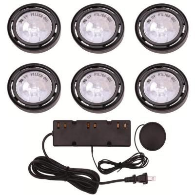 Hampton Bay 6-Light Black Under-Cabinet Xenon Puck Light Kit-EC1333BK at The Home Depot