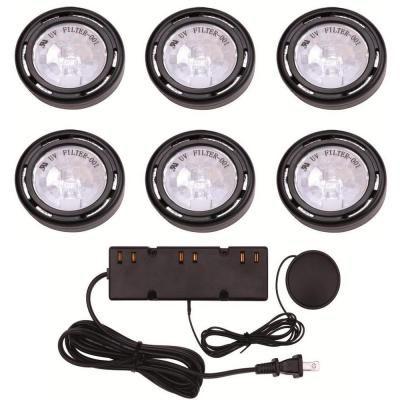 6 light xenon black under cabinet puck light kit cabinet lighting flip book