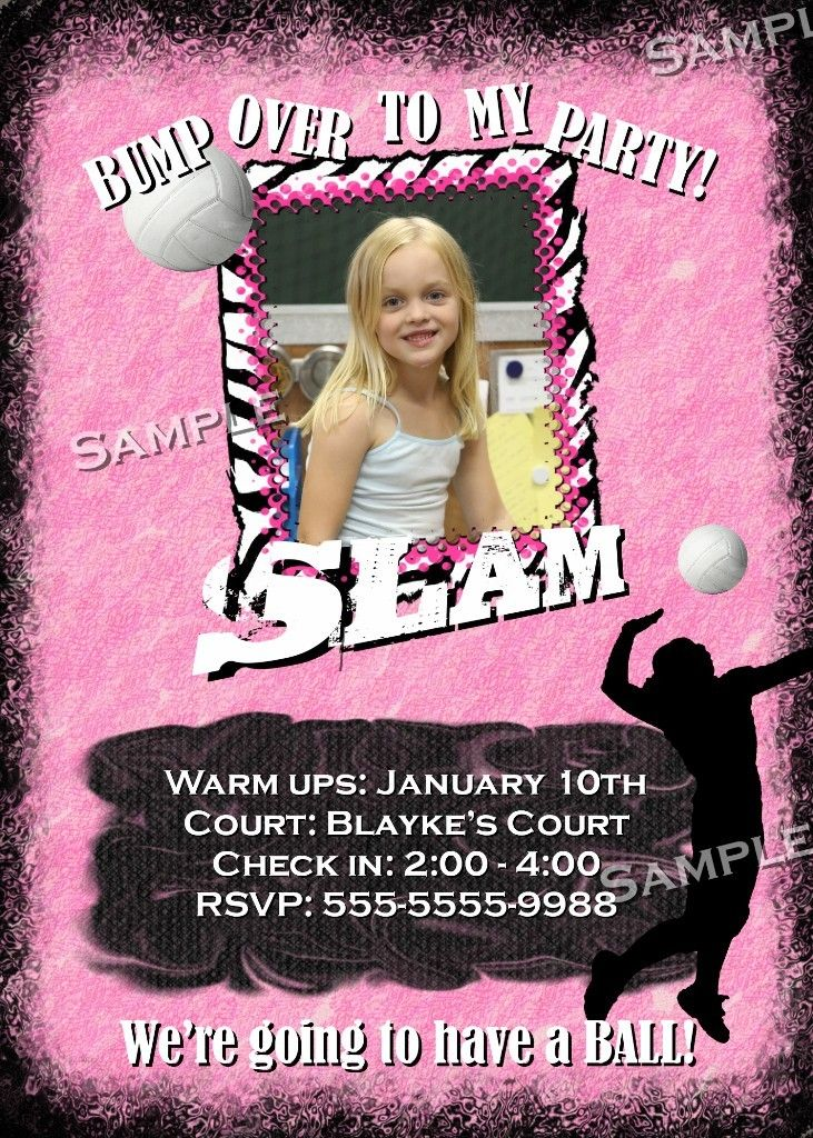 printable horse birthday party invitations free%0A VOLLEYBALL Themed Invitation BIRTHDAY Printable Photo GIRLS BALL sports  Invite