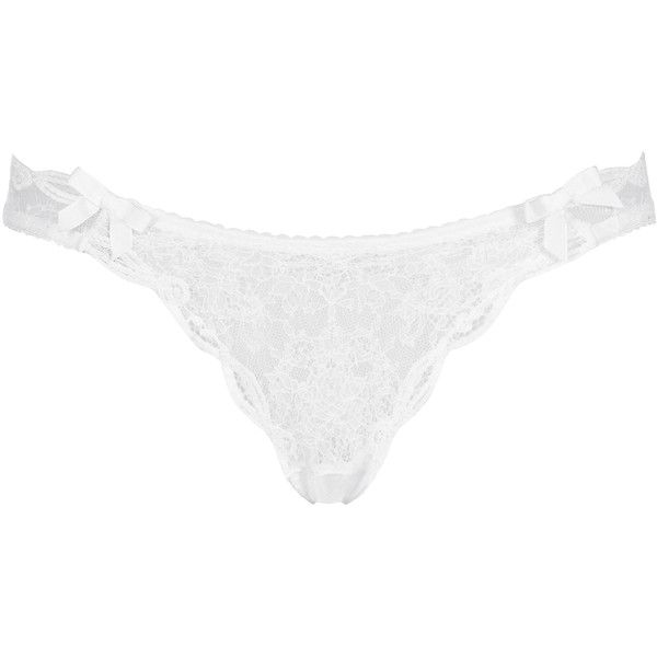 Agent Provocateur Love Thong White ($68) ❤ liked on Polyvore featuring intimates, panties, lingerie, underwear, bra, white, knickers, thong, lace lingerie and thong panties