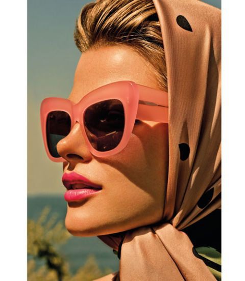 Pair a cotton-candy pout with oversize sunnies and nothing more. Hint: Prime lips with concealer first so a pink like Dior's Rouge Dior Lipcolor in Rose Caprice really pops. Scarf, $165, Felix  Rey; sunglasses, $450, Cutler & Gross.