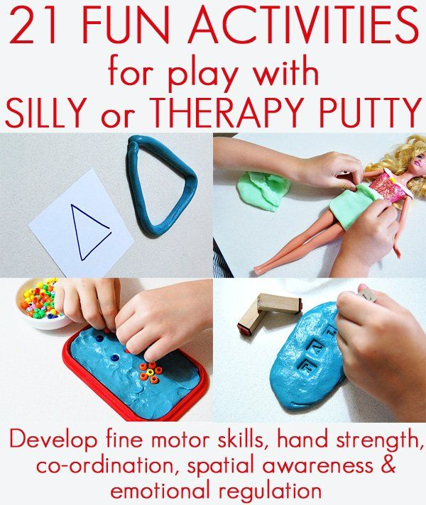 21 activities for getting small fingers busy and working with silly putty. Great for the home or classroom.