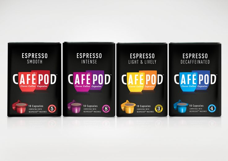 Cafepod - I love the pop of bright color on the black background.  Fun and sophisticated at the same time...Lovely packaging!