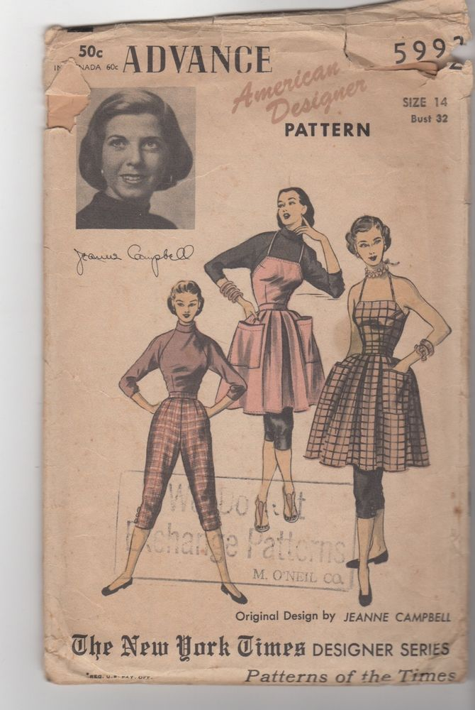 Vintage 1940's Advance pattern 5992 FAB apron dress SLIM KNICKERS turtleneck top in Collectibles | eBay