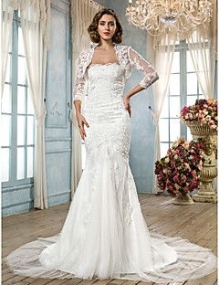 Trumpet/Mermaid Strapless Scalloped-Edge Court Train Tulle W... – USD $ 179.99