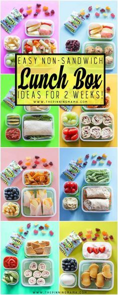2 Whole weeks of Non-Sandwich - Easy to make - Super fun - Healthy Lunch Box ideas for kids. Forget boring sandwiches, your kids will love eating these lunches at