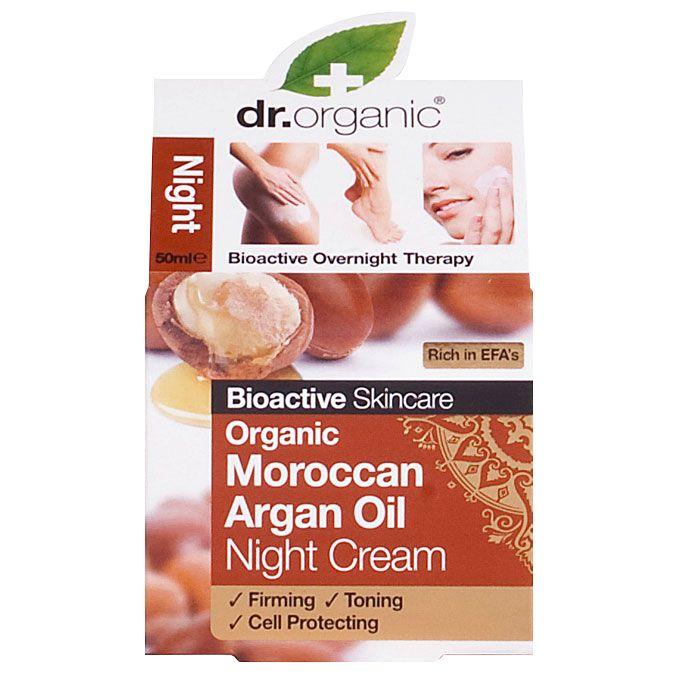 Dr Organic Nattcreme Arganolja reparerar huden och motverkar rynkor. Dr Organic Nattcreme Kokosolja Virgin har en lugnande och återfuktande effekt på huden.