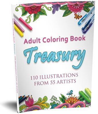 'Adult Coloring Book Treasury' features 110 Illustrations from 55 artists from around the world. This coloring book is great value and an opportunity to sample many art styles all in the one HUGE book. Order your copy today.