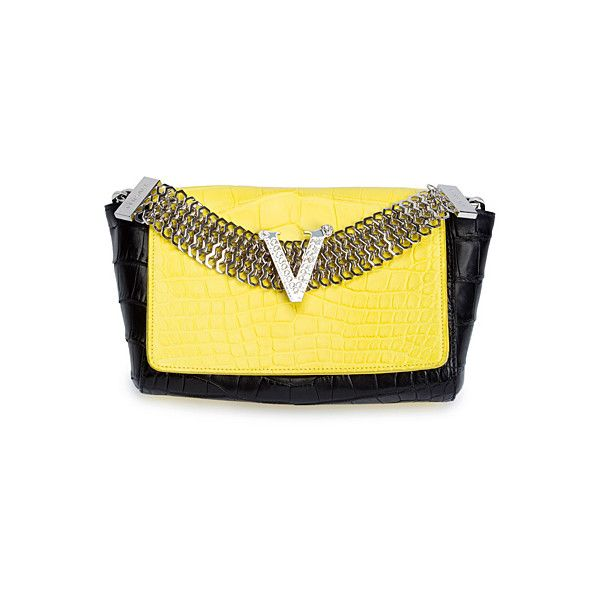Versace - black yellow clutch purse ❤ liked on Polyvore