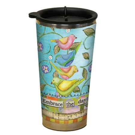 Embrace The Day Birds Design Acrylic Stainless Steel Double Walled Travel Mug...$18.95