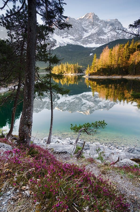 I took this picture today before going to work. I got out of bed at 5am to catch the first rays of sunlight at lake eibsee, bavaria (next to garmisch-partenkirchen)